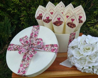 20 bespoke wedding cones filled with air dried rose petal confetti in a custom made hat box