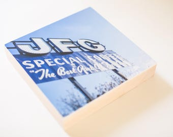 JFG Coffee sign photograph mounted on wood block, blue, wall art, photography, knoxville, tennessee, JFG building
