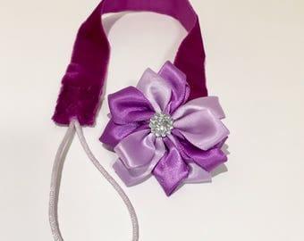 Pacifier Binky Clip Purple Velvet and Flower