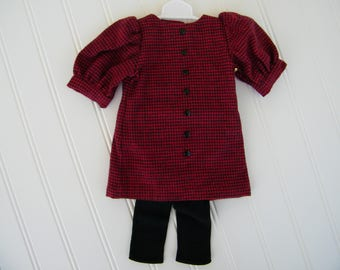"18"" Doll Clothes, Burgundy checked romper dress with black tights, Fits American Girl Dolls, Fits Our Generation dolls"