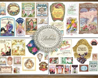 Vintage French Perfume Labels Printable  Collage Sheets