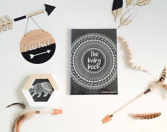 Boho Tribal Baby Book journal keepsake monochrome