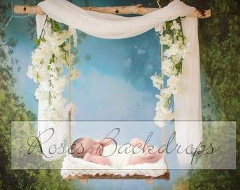 Digital background, scenery, newborn, swing, girl, boy, 2 files!