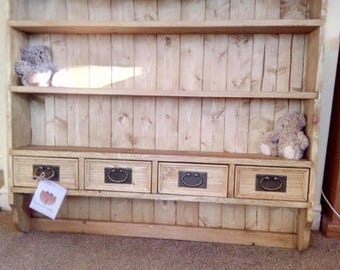 Large Solid Pine 3 Shelf Plate Rack with 4 drawers Dresser Top Kitchen Shelves