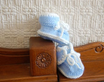 Baby boy trainers/booties hand knitted