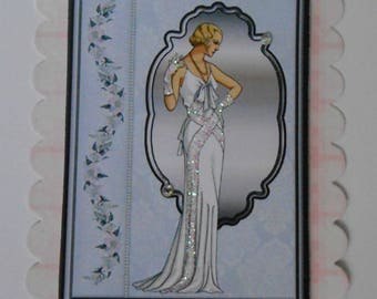 Pk 2 White Art Deco Lady Embellishment Toppers for cards and Crafts