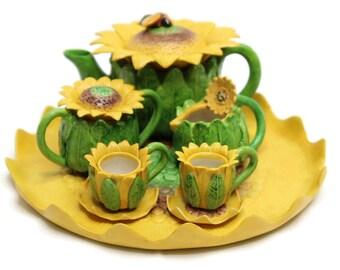 Unique Design Miniature Porcelain Tea Set –Sun Flower- for Home, Fairy Garden, Mini Garden, Terrarium, and Dollhouse Decoration.