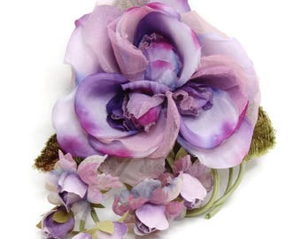 Vintage Handmade Artificial Silk Flower Corsage Brooch. High Quality Shabby Chic Fabric Flower Corsage Pin. Great for Wedding, Party, Prom