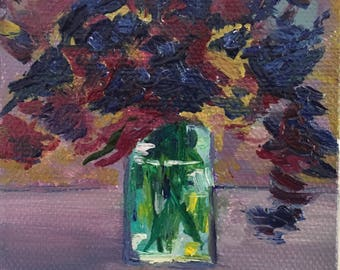 Hand-painted modern oil on canvas flowers painting, abstract blue and purple flowers in vase. Handmade Still Life painting on sale