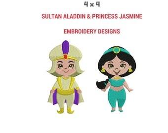 Sultan Aladdin and Princess Jasmine Embroidery Design | Embroidery Pattern Kit | Machine Embroidery Designs | Disney Design | Custom Designs