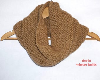 Knitted cowl, knit snood, winter fashion, knit tube scarf, 50% wool, warm brown color, wool scarf, womens cowl, mens cowl