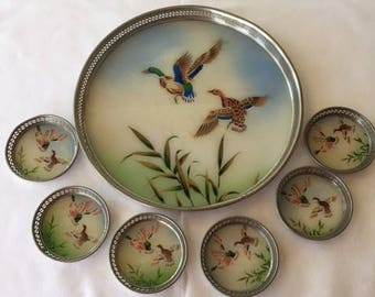 Vintage Bakelite Coaster and Tray Set with Bird Design