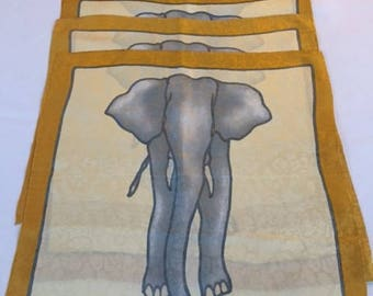 Jim Thompson Beautiful Silk Elephant Napkins Set of 4