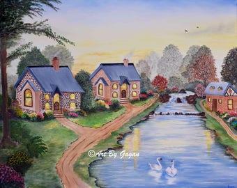 Riverside houses - Art print