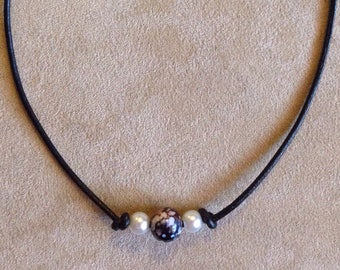 Accent Bead with Pearl colored beads on Leather Cord