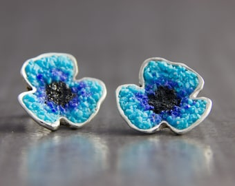 925 Silver earrings poppy turquoise