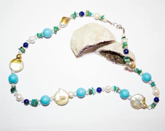Necklace with turquoise freshwater pearls with silver closure
