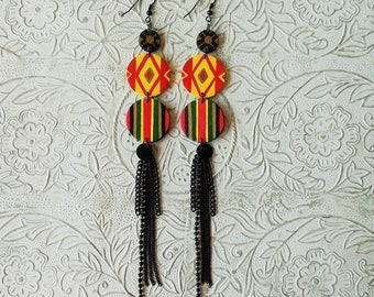 African Ankara inspired tassel earrings