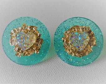 Turquoise gold foil heart earrings