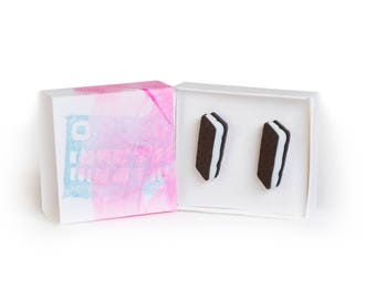 Stud earrings, earrings uk, earrings silver, chocolate, vanilla, girly gifts, limited edition