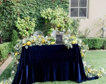 Velvet Tablecloth | Navy Tablecloth | Velvet Table linens | Wedding Table Decor | Velvet Table Linen | Velvet Runner | Velvet Table Runner