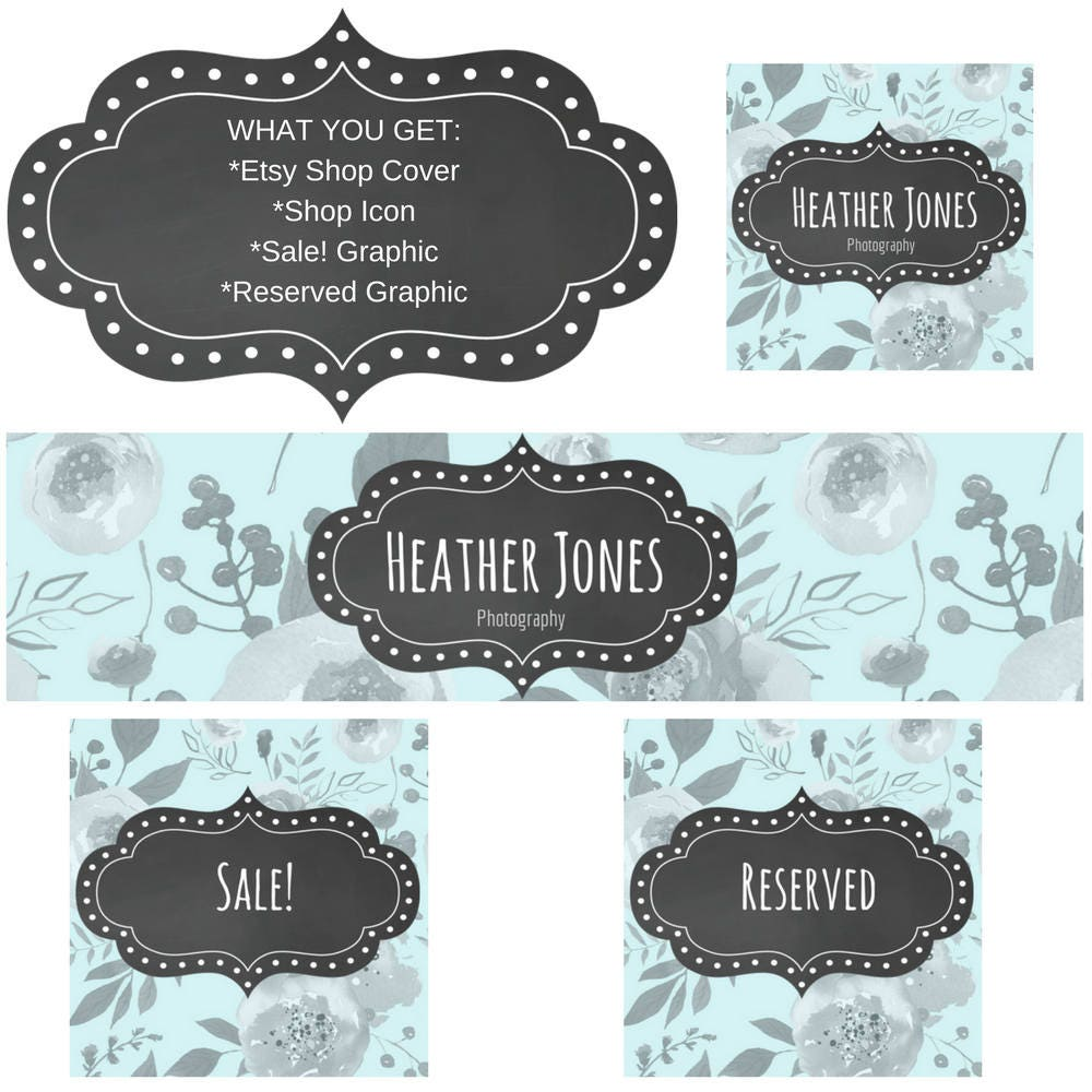Shop Floral Monograms At Littlebrownnest Etsy Com: Etsy Shop Set Teal And Gray Floral Etsy Cover Banner Shop