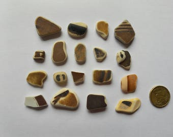 Sea pottery / pottery French set of 18 brown tones