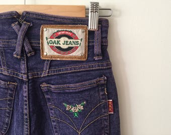 High-wasted purple stone wash vintage jeans