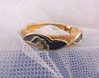 Gold Plated Bracelet Vintage70s Orena Paris Design Enamel Flowers