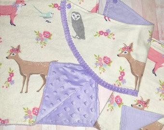 Baby Girl Gift Set/Deer Minky Baby Blanket/Fox Burp Cloth/ Woodland Baby Bib/ Burp Cloth/ Bib/ Baby Shower Gift Girl/ Minky Baby Blanket