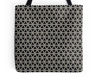 Tote Bag, Geometric tote bag, market shopper, black tote bag, geometric print, shopping bag, tote shopper, market bag, black geometric Bag