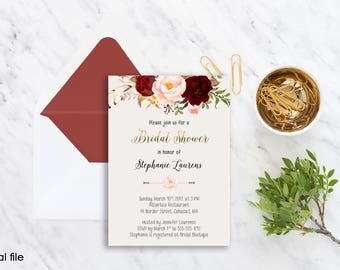 Bridal Shower Invitation Printable Floral Digital Wedding Marsala Burgundy Watercolor Gold letters Bohemian Bridal Shower Invite WS-012