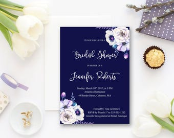 Bridal Shower Invitation Printable Floral Digital Wedding Navy Blue Watercolor White Flowers Invitation Bohemian Bridal Shower Invite WS-007