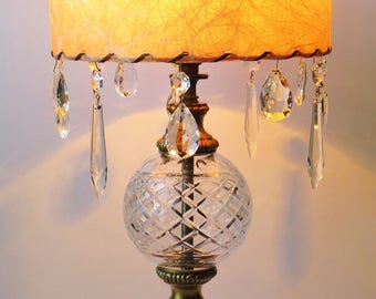 Vintage Crystal Table lamp – Shabby Chic – Eclectic – Screams Vintage & Unique