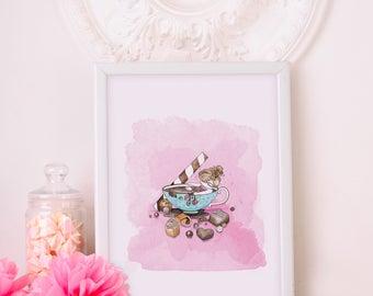 Chocolath bath / Watercolor Illustration / Nursery / Printable / Wall-Deco / Children Decoration