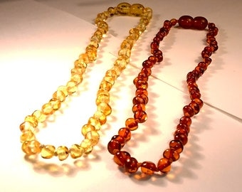 Natural Baltic Amber Children Necklace Baroque Lemon Teething Safe