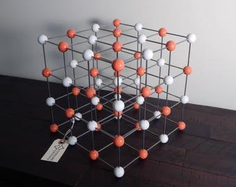 Molecular model, handmade - Rock salt (halite) crystal - science art decor - chemistry - physics - mid-century modern sculpture - geometric