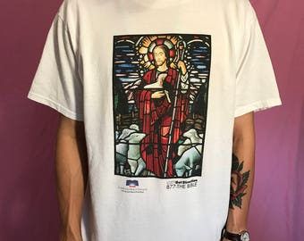 Stained glass Jesus leading the lambs shirt Sz L XL