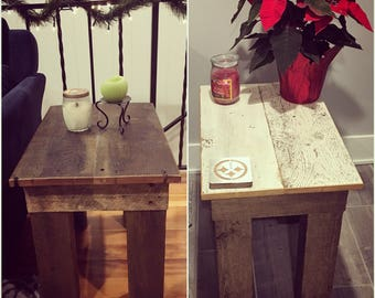 Reclaimed barn wood side table