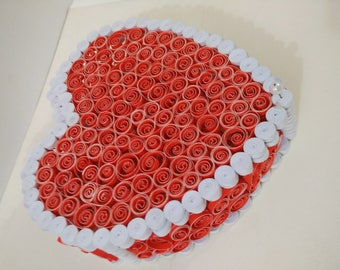 handmade quilling gift box of red and white color