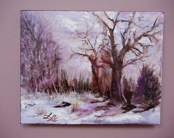 Original Oil Painting. 8 ''x 10 ''. Winter. Abstract. Oil on canvas.