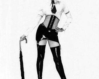"""Print of a pencil drawing entitled """"London calling"""". A fetish or even erotic drawing but drawn so you can hang the piece and not offend."""