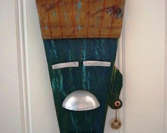 Tiki man mask, Hawaiian, coastal decor, cottage, lake house, beach house, copper, aluminum. Beach decor, home decor, wall hanging,