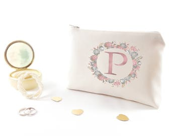 Bridesmaid gift under 30 Maid of honor gift Make up bag Personalized purse organizer Custom bridesmaid cosmetic bag Monogram bridesmaid gift