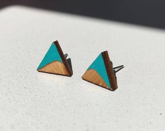the swoop   Etched & painted wooden earrings