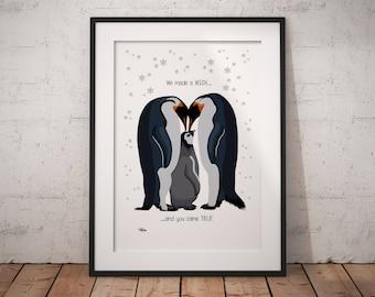 IVF, IVF baby, nursery animal print, rainbow baby, penguin gift, penguin print, penguin nursery, nursery wall art, baby gift, nursery decor