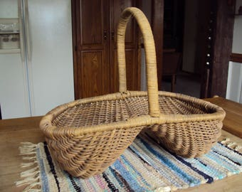 Vintage Buttock Basket, Antique Basket, Antique Buttock Basket, Woven Basket, Old Basket, Early Style Basket, Vintage Basket