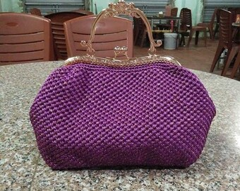 Purple Clutch Purse, Metal Frame Purse
