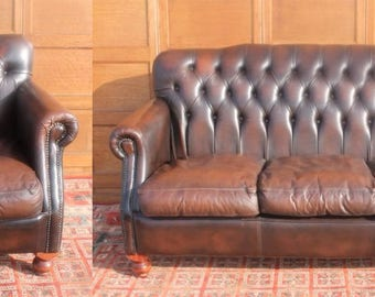 Hand Dyed Country House Vintage/Antique Style Cigar Brown Leather Chesterfield Sofa & Club Chair,Armchair/Suite,Studded/Stud Button Back