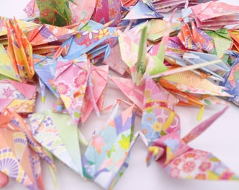 Ready to ship!100 3'' Colorfol  Flower Origami paper crane,Make a wish,Washi Chiyogami,Cute Origami crane,wedding,party,Decoration,Card